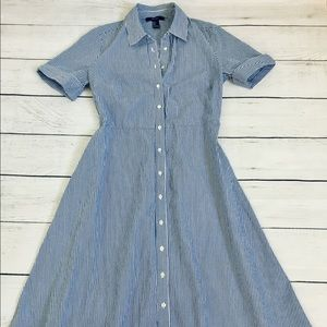 Forever 21 white/blue fine stripe midi dress S